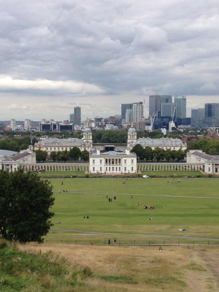 View from Greenwich Park of Queen's House, Royal Naval College & Canary Wharf