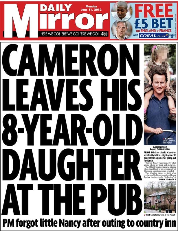 Daily Mirror front page - David Cameron leaves his daughter in the pun