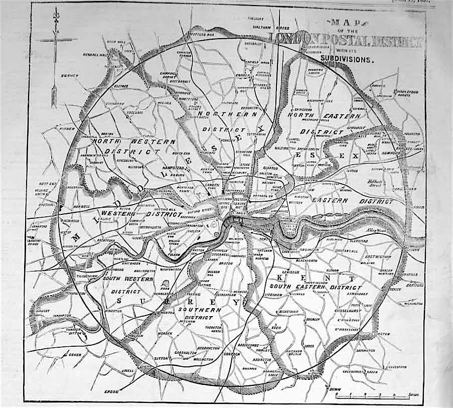 Map of original London postal districts